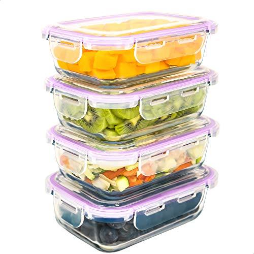 LG Luxury & Grace Pack 4 Recipientes de Cristal 600 ml. Cierre Hermético. Envases Contenedores Aptos para Microondas, Horno, Lavavajillas y Congelador. Sin BPA.