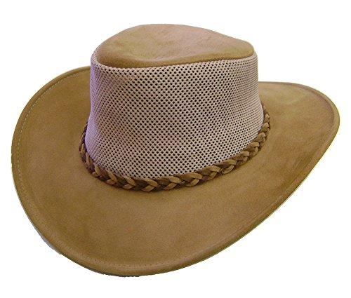 Modestone Unisex Crushable Henschel Suede/Mesh Chapeaux Cowboy Brown