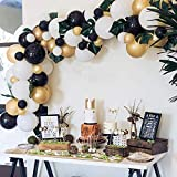 Balloon Garland Arch Kit -105 Pieces White Black Gold Balloon Arch Kit with 8PCS Palm Leaves &Pump &Strip Tape& Dot Glue for Birthday Wedding Graduation Christmas Baby Bridal Shower Party Decoration