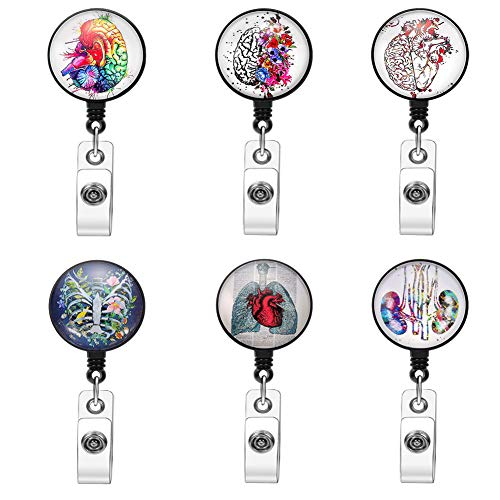 Brain and Heart Badge Reel Retractable Nurse Lungs Badge Reel with Alligator Clip Thoracic Cavity Badge Reel Holder for Medical MD RN Nurse Doctor Office Worker (6 Pack Brain)
