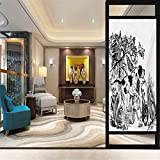 17.7' W x 35.4' L inches,Glass Film,Sticker Glass Home Thermal Control UV Resistance,Hunting,Hunting Dogs in The Forest Monochrome Drawing English Pointer and Setter Breeds,Black White