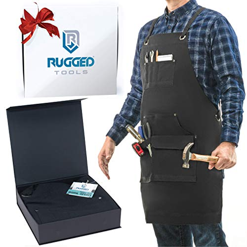 Rugged Tools Work Apron - Heavy Duty Canvas Shop Apron with Tool Pockets for Men, Women, Woodworker, Carpenter, Mechanic, or Machinist (Black)