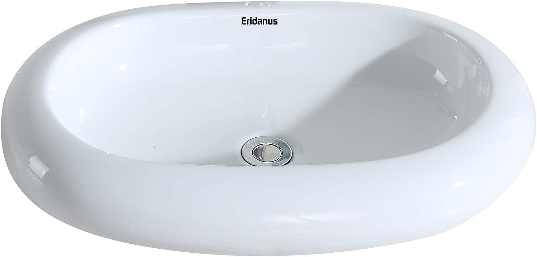 Eridanus Wash Basin Sink, [Series Oslo],Oval Ceramic Art Wash Basin Sink Above Counter Mounting for Home Hotel Office Bathroom