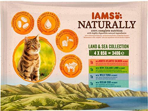 Iams Naturally Multipack Alimento Completo Umido per Gatti Adulti 4x85gr - 340 gr