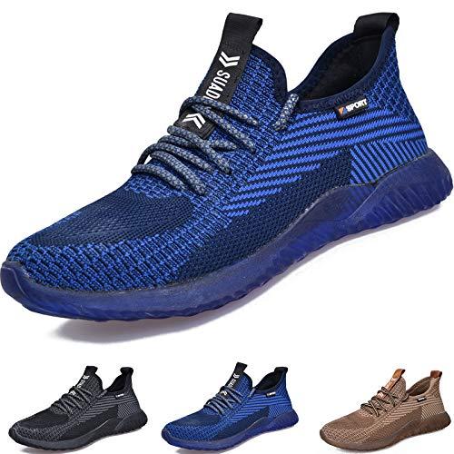 SUADEEX Sicherheitsschuhe Herren Arbeitsschuhe Damen Herren S3 Leicht Sportlich Atmungsaktiv Schutzschuhe Stahlkappe Sneaker,11Blau,43EU