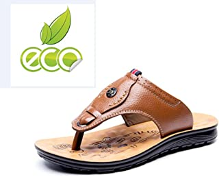 Men Flip Flops Genuine Leather Casual Slippers Outdoor Beach Shoes High Quality