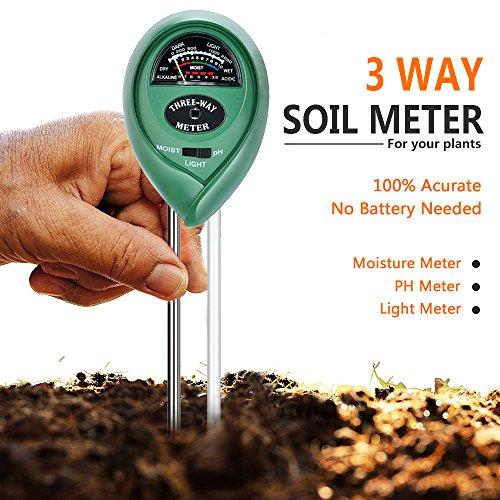 土壌温度計 土壌測定器 携帯 土壌酸度計 土壌水分量 土壌水分計 ph測定器 デジタル テスター 土壌のPH/照度/水分検定 多機能 電池不要 簡易型 屋内/屋外使用でき 農業、栽培、家庭菜園など適用 芝生、農場、植物、ガーデニングツール 周囲湿度