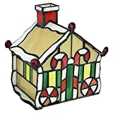 Design Toscano Christmas Gingerbread House Stained Glass Lamp Illuminated Sculpture, Full Color