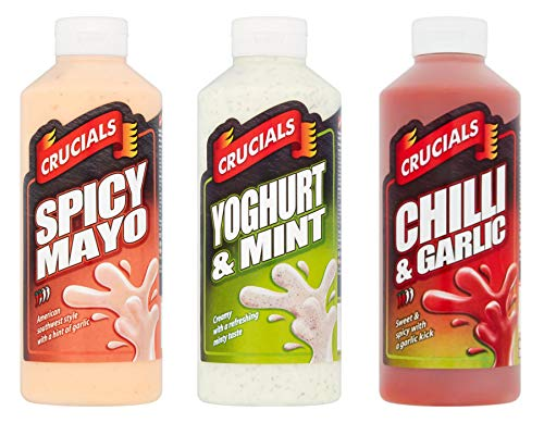 Crucials Set di 3 salse da tavola, tra cui maya piccante, peperoncino, aglio e yogurt e menta 3 bottiglie grandi da 500 ml