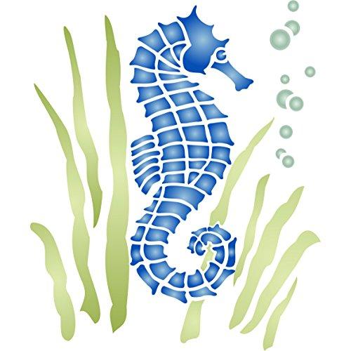 Plantilla de pared para caballito de mar – Plantilla reutilizable de arrecife marino marino náutico
