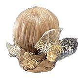 Lupine 髪飾り つまみ細工 かすみ草 ゴールド ホワイト 7本セット白 結婚式 成人式 卒業式 袴 プリザーブドフラワー 造花 花ht0002