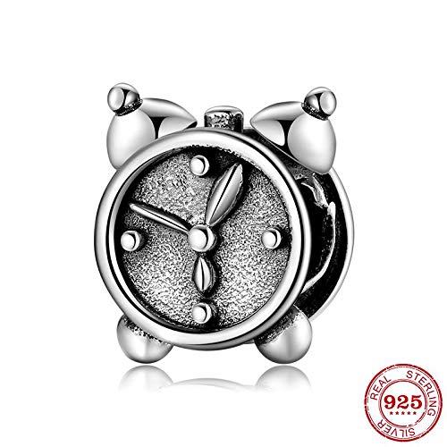 CH&NH Nuevo Reloj de Alarma con Puntero Retro 925 Cuentas de Plata esterlina en Forma de Pulseras con dijes Originales Fabricación de joyería Fina