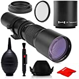 Super 500mm/1000mm f/8 Manual Telephoto Lens for Canon EOS, 80D, 70D, 77D, 60D, 60Da, 1Ds, Mark III and II 7D, 6D, 5D, 5DS Rebel T7i, T7s, T6s, T6i, T6, T5i, T5, T4i, T3, SL2, SL1 Digital SLR Cameras