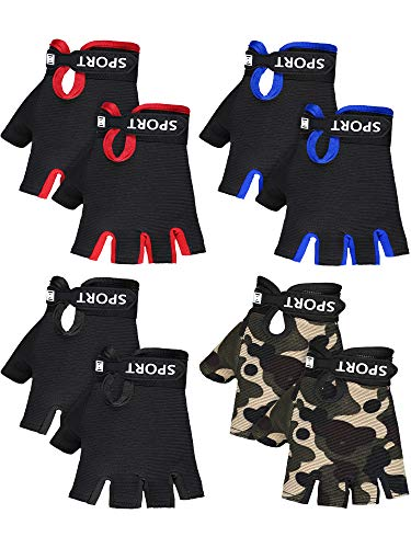 SATINIOR 4 Pairs Kids Half Finger Cycling Gloves Non-Slip Sports Gloves for Summer Outdoor Sports Children Aged 4-8 Years (Black, Red, Blue, Camo)