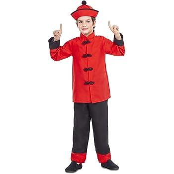 My Other Me Disfraz de Chino Rojo y Negro para niño: Amazon.es ...