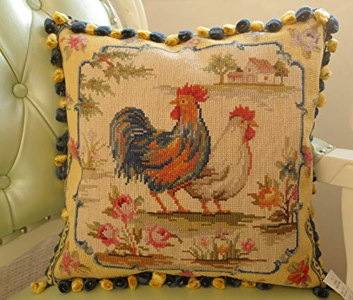 Fine Home Crafts 16' Peaceful French Country Vivid Roosters Floral Needlepoint Throw Pillow Cover