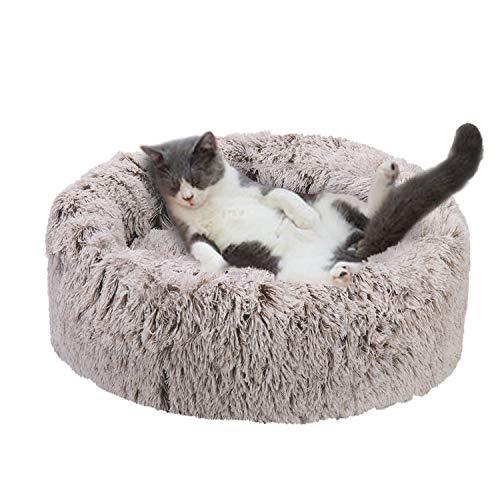 BingoPaw Cama Perro Redonda, 50 x 50cm Cama Felpa para Cachorros y Gatos, Colchoneta Perro Impermeable con Funda Desmontable y Lavable, con Cojín Suave y Cálida