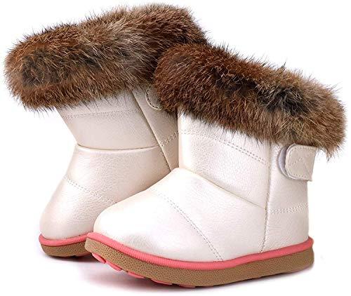 Botas de Nieve para Niños Niña Invierno Calentar Botines Impermeable PU Algodón Niños Botas Anti-Deslizante Zapatos para Bebé Blanco 21
