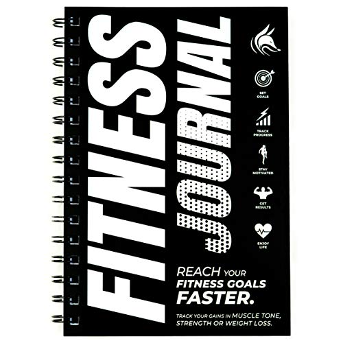 Clever Fox Fitness & Workout Journal/Planner Daily Exercise Log Book to Track Your Lifts, Cardio and Body Weight Tracker - Spiral-Bound, Laminated Cover, Thick Pages, A5 (Black & White)