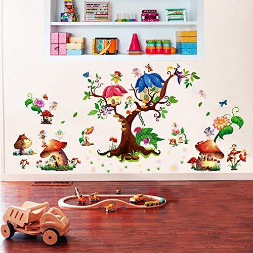 ufengke Pegatinas de Pared Jardín de Hadas Vinilos Adhesivos Pared Casa del Setas Árbol Decorativos para Dormitorio Habitación Infantiles Niñas