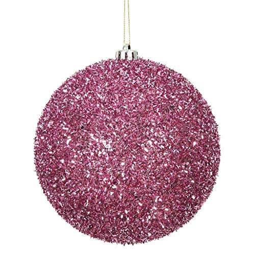 """Price comparison product image Vickerman 511008-6"""" Pink Tinsel Ball Christmas Christmas Tree Ornament (2 pack) (N178279)"""