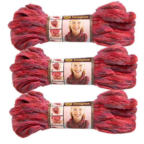 Lion Brand (3 Pack) Imagine Acrylic Blend Soft Strawberry Fields Reddish Pink Yarn for Knitting Crocheting Super Bulky #6