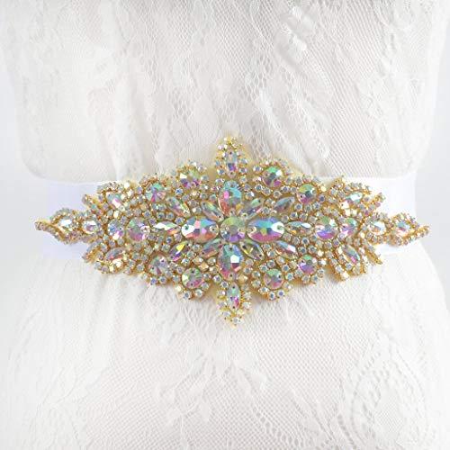 ShinyBeauty Cinturón de diamantes de imitación Multicolor Faja de oro Cinturón Cinturón...