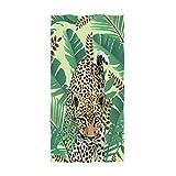 Bath Towels Leopardos Tropicales con Hojas De Palma Toalla De Playa Única Y Ultra Suave Moda para Adultos Baño Hotel Gimnasio SPA Ejercicio 80X130Cm Viaje Unisex Acogedor Hotel Pr