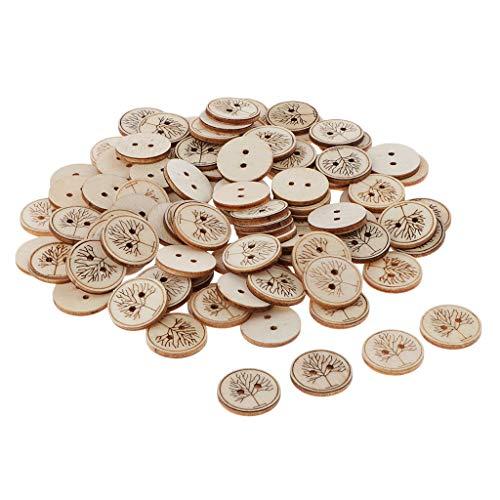 yotijar Botón de Madera Impreso de 50 Piezas para Accesorios de Costura