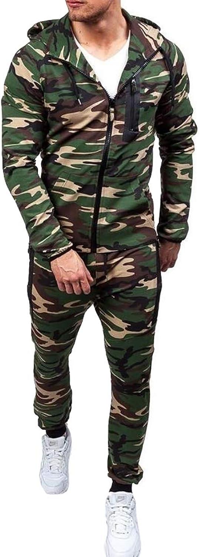 Men's Top Pants Sports Sets,Men Hoodie Camouflage Coat Suit Tracksuit Set