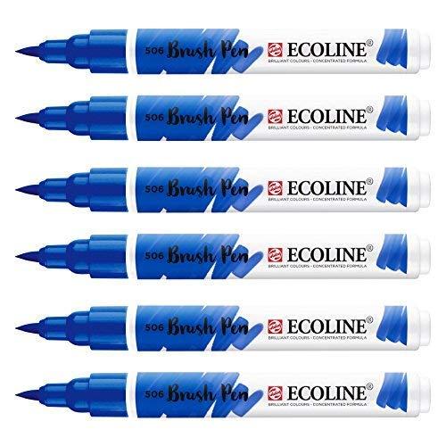 Royal Talens - Ecoline vloeibare aquarel penseel penseel - pak van 6 - Ultramarine - 506