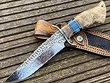 Cuchillo de caza Perkin Damasco Cuchillo de caza inoxidable Cuchillo Bowie de Damasco Cuchillo de caza de hoja fija con vaina Hoja de acero de Damasco hecha a mano VG10