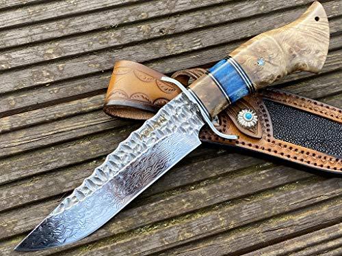 Perkin Damastmesser Rostfrei Jagdmesser Damast Bowie Messer Festes Klingenjagdmesser mit Scheide Handgefertigte Damaststahl VG10 Klinge