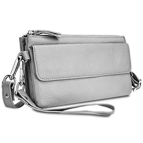 YALUXE Women's Leather Smartphone Wristlet Crossbody Clutch with RFID Blocking Card Slots Light Grey