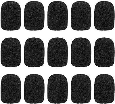 15 pcs Sponge Foam Microphone Windscreen, Lapel Lavalier Headset Microphone Cover, Black