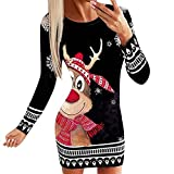 Christmas Ugly Sweater for Women Warm Knitted Xmas Mini Dress Snowflake Printed Long Sleeve Pullover Winter Knit Dress(Red,S)