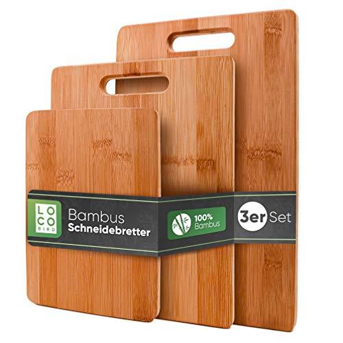 Loco Bird taglieri in bambù massiccio set di 3-33x22 / 28x22 / 15x22cm - Tagliere da cucina in legno - Tagliere in legno antibatterico