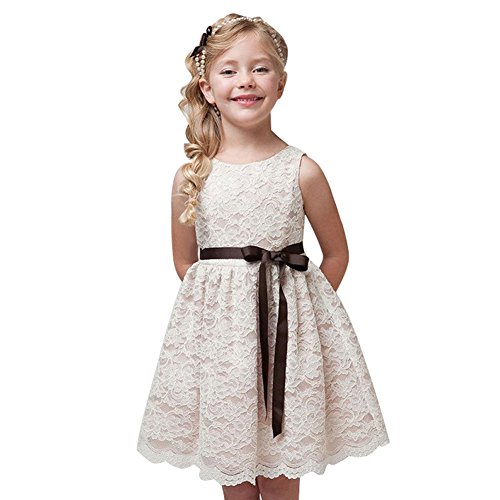L PATTERN Vestido Elegante Niña Ceremonia Fiesta Sin Mangas Lace Lazo Princesa Verano Crema 150 13-14 años