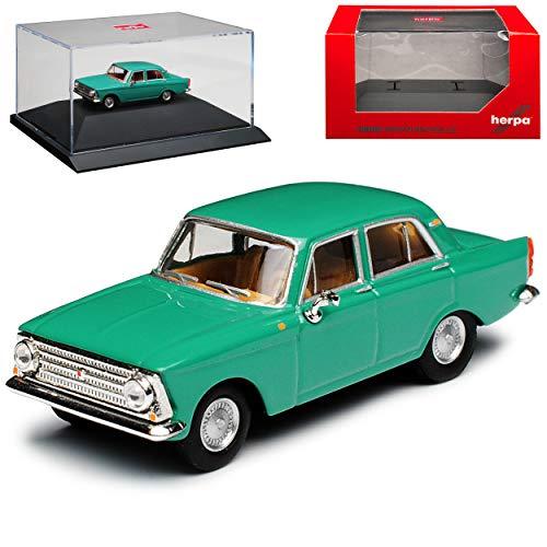 Moskwitsch 408 412 Limousine Tuerkis Gruen DDR 1964-1975 mit Sockel und Vitrine H0 1/87 Herpa Modell Auto