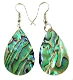 Iridescent Natural Abalone Earrings Teardrop Dangle Paua Shell Handmade Women Jewelry BA196