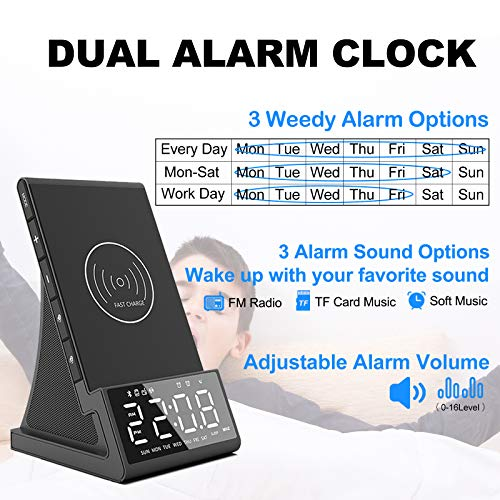 Acsonwin Wireless Charging Alarm Clocks with FM Radio, Bluetooth Speaker with USB Charger Port, Electric Clocks for Bedroom/Kids, Adjustable Alarm Volume and Brightness Dimmer, Snooze, TF Card Play