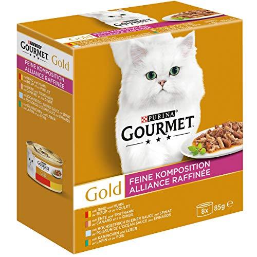 PURINA GOURMET Gold Feine Komposition Katzenfutter nass, Sorten-Mix, 12er Pack (12 x 8 Dosen à 85g)