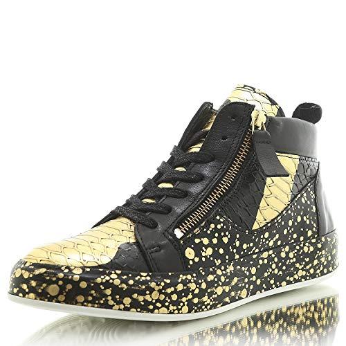 Felmini C063 Trump Anilina Cobra Damen High Top Sneaker Turnschuh (37, Black/Ouro)