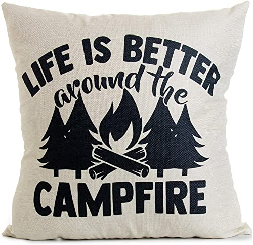 Decorative Throw Pillow Case Cushion Covers, 18' x 18', Life is Better Around Campfire, for Camper Camping Sofa Couch Bed Decor