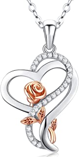 Sterling Silver Heart Rose Necklaces for Women,Mother's...
