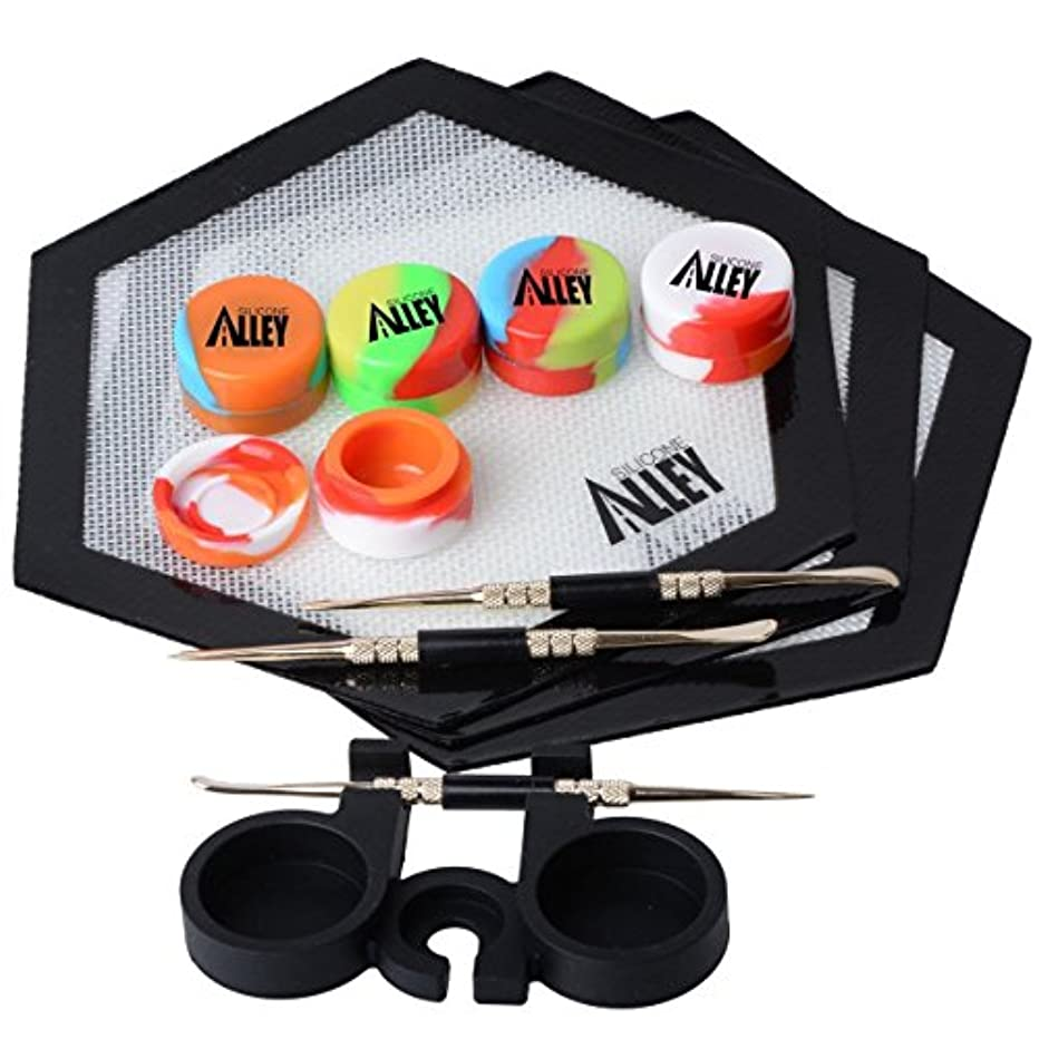 SILICONE ALLEY 3 Silver Carving Tool + 3 Non-stick Black Hexagon Mat + 5 Tie Dye-colored Wax Jars Containers + 1 Black Container Holder