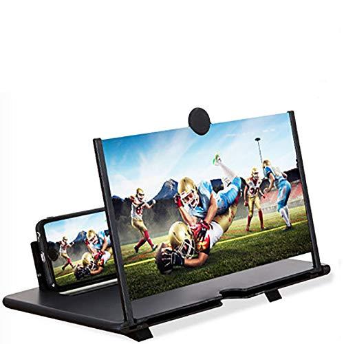 3D Handy Bildschirmlupe, 12 ZolFaltbarer Handy Bildschirmverstärker, Für Filme, Videos, , 3-4 Fache Vergrößerer ,Kompatibel mit Allen Smartphones (schwarz)