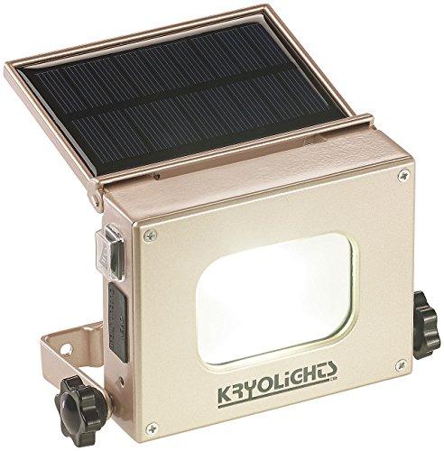 KRYOLiGHTS LED Akku Strahler: 2in1-LED-Fluter und Powerbank, Solar-Panel, 10-Watt-COB-LED, 370 Lumen (Solar Fluter Taschenlampe)