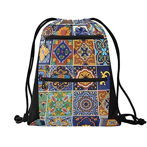 Mochila con cordón para gimnasio, ligera, mochila para escuela, viajes, compras, deporte, Mexican Tiles 2, Large