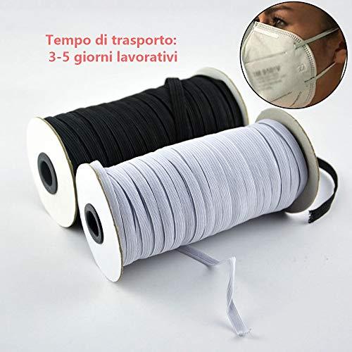 NIERBO Elastici Elastico 3mm di Larghezza Corde Elastiche 10 Metri di Lunghezza (Bianco)